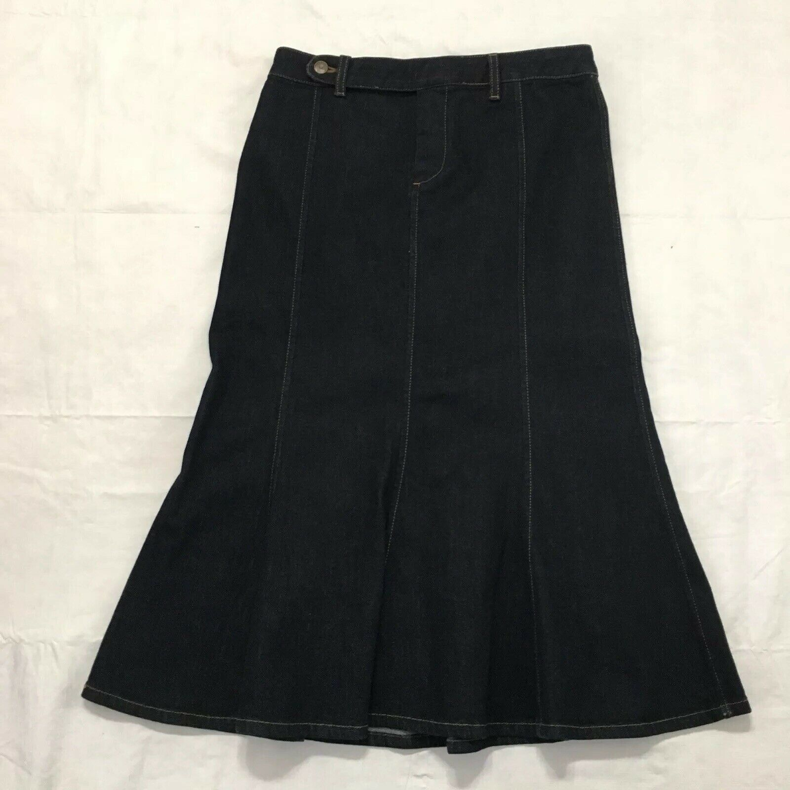 Lauren Jeans Ralph Lauren Trumpet Skirt Size 4 Dark Wash Stretch Denim