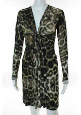 JUST CAVALLI Beige Black Ivory Animal Print Gathered Chest Sheath Dress Sz IT 40