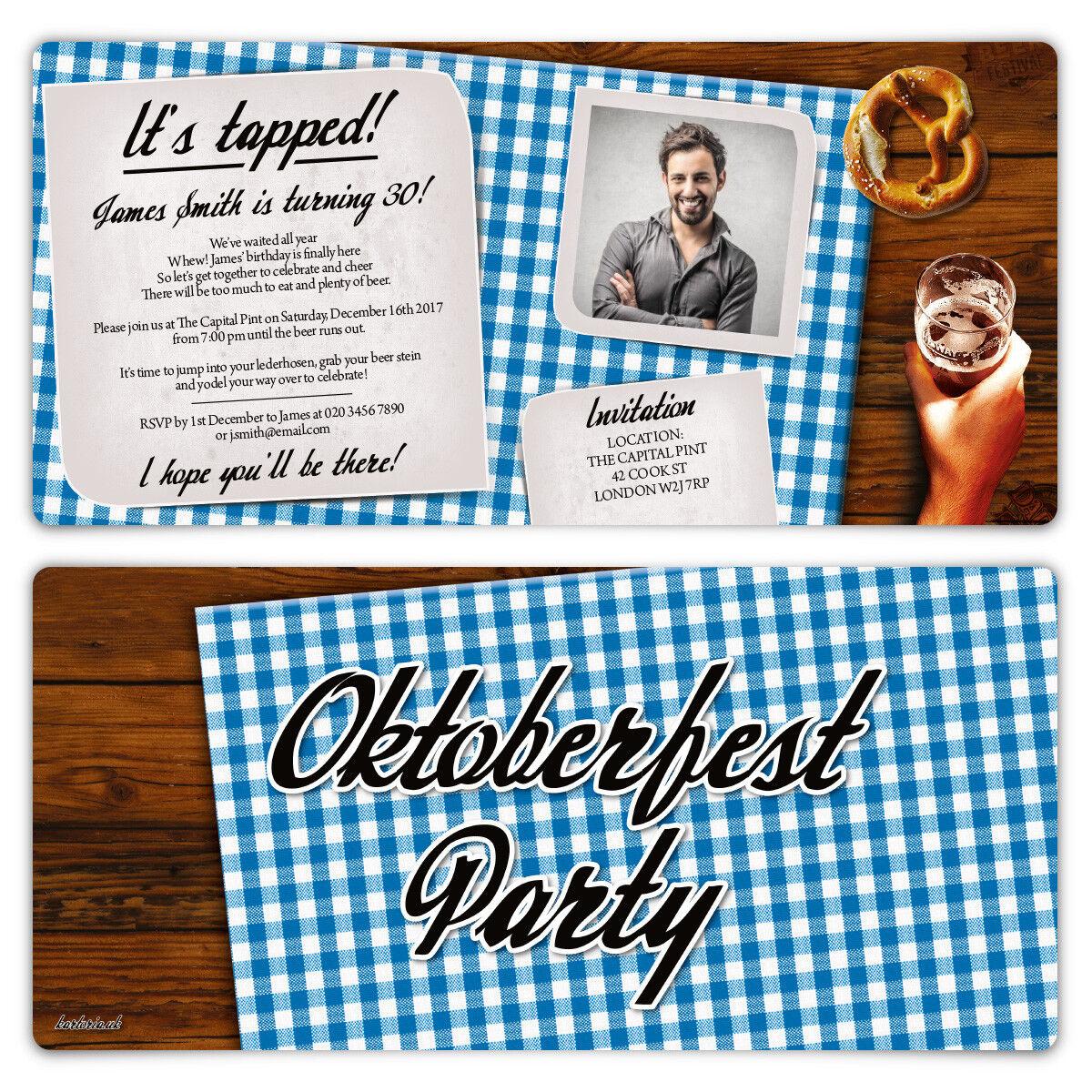 Birthday Invitation Cards Invite - Blau Bavarian Oktoberfest Party with Photo