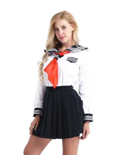 Women Japanese School Girl Dress Outfit Cosplay Costume Fancy Sailor Uniform Hot