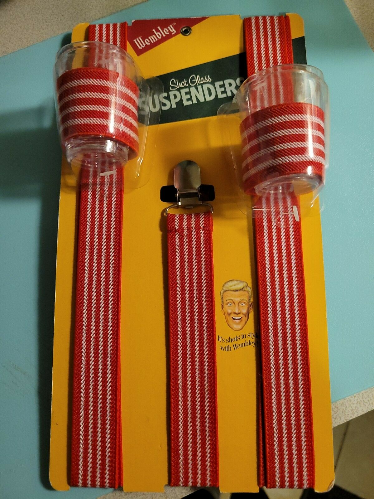 Wembley Shot Glass Suspenders, Red and White - Unique