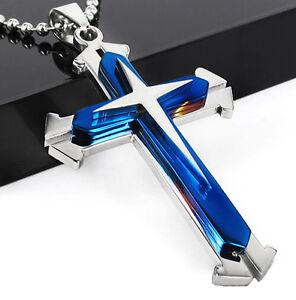 Unisex-Blue-Silver-Titanium-Steel-Cross-Pendant-Chain-Necklace-Jewelry-Men-Gift
