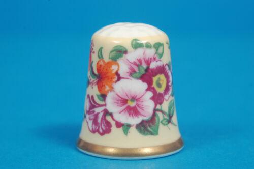 Pink Foral China Thimble B//181 Royal Worcester Historical Patterns Yellow