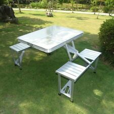 Portable Fireproof Folding Outdoor Camp Suitcase Picnic Bbq Table W 4 Seats