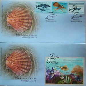 Malaysia FDC with MS & Stamps (09.10.2004) - Marine Life Series VI