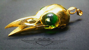 Vogel-Schaedel-Anhaenger-24-Karat-Gold-Vergoldet-Steampunk-Gothic-Kraehe