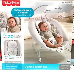 New-Fisher-Price-Deluxe-Baby-Bouncer-Extra-Snuggly-amp-Comfy-Owl-Design-DVG19