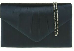 Details about Navy Clutch Bag Dark Blue Satin Evening Bag Ladies Wedding Shoulder Bag Prom Bag