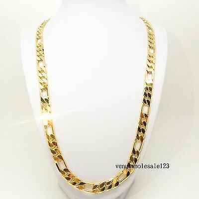 """24K Yellow Gold Filled 23.6"""" 24KGL Jewelry Figaro Chain (Curb) Necklace FN3080"""
