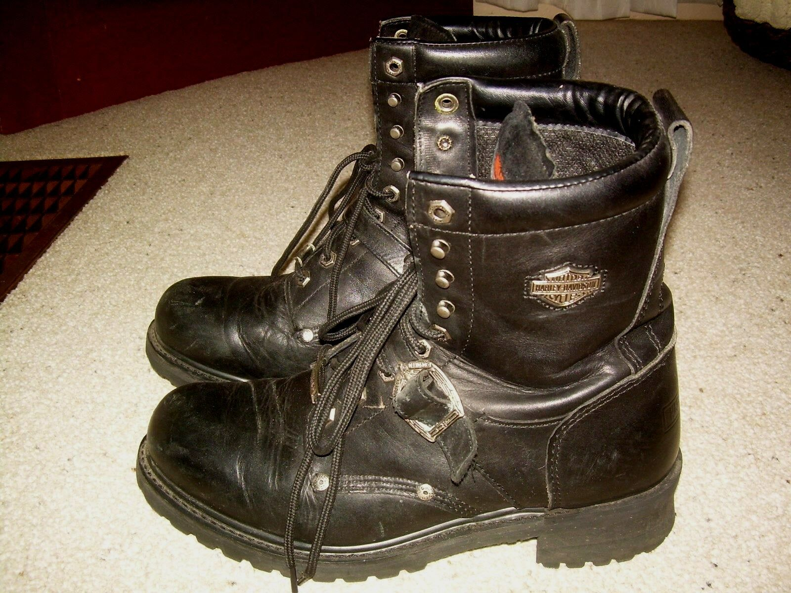 HARLEY DAVIDSON Motorcycles Black Leather Faded Glory Biker Boots 12 FREE SHIP