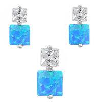 Square Blue Fire Opal & Cz .925 Sterling Silver Earring & Pendant Gift Set on sale