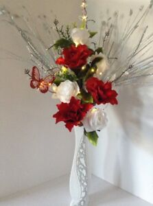 Image Is Loading Artificial Silk Flower Arrangement White Amp Red Flowers