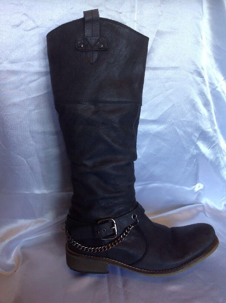 Gabor Grey Knee High Leather Boots Size 38