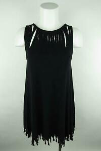 Old Navy Women sz S Solid Black Cut Out Fringe Scoop Neck Sleeveless Blouse Top