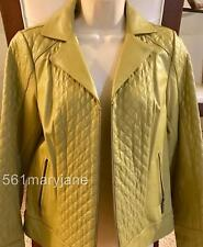 NWOT BRADLEY Bradley Bayou Quilted Zip Up Leather Jacket, Light Olive XS $250