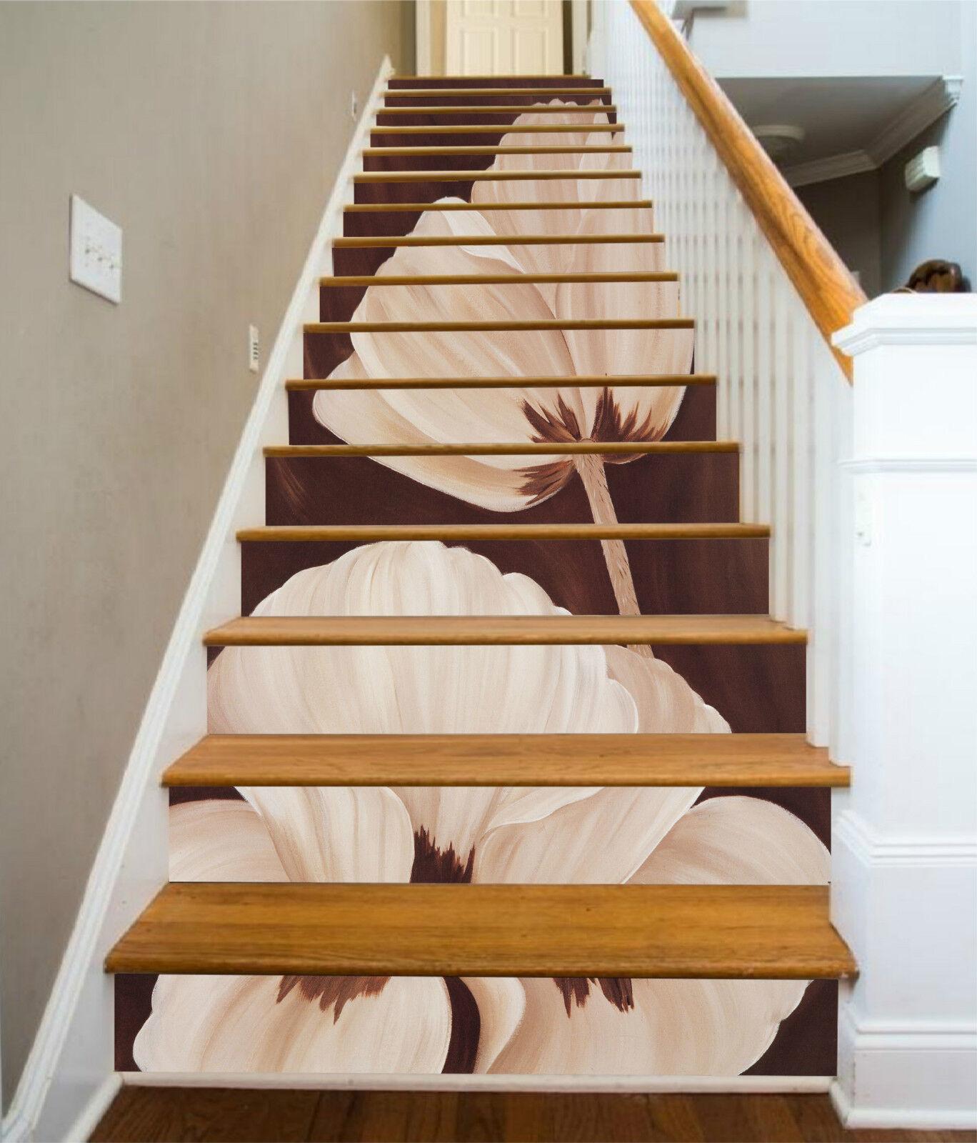 3D Weiße Blaumen 544 Stair Risers Dekoration Fototapete Vinyl Aufkleber Tapete DE