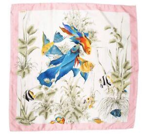 Rare-Vintage-Gucci-Pink-Silk-Fish-Scarf