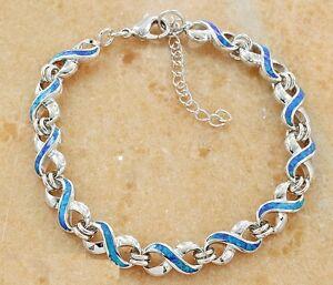 Wholesale-18K-White-Gold-Silver-Plated-Austrian-Opal-Women-039-s-Bracelet-7-5-inch