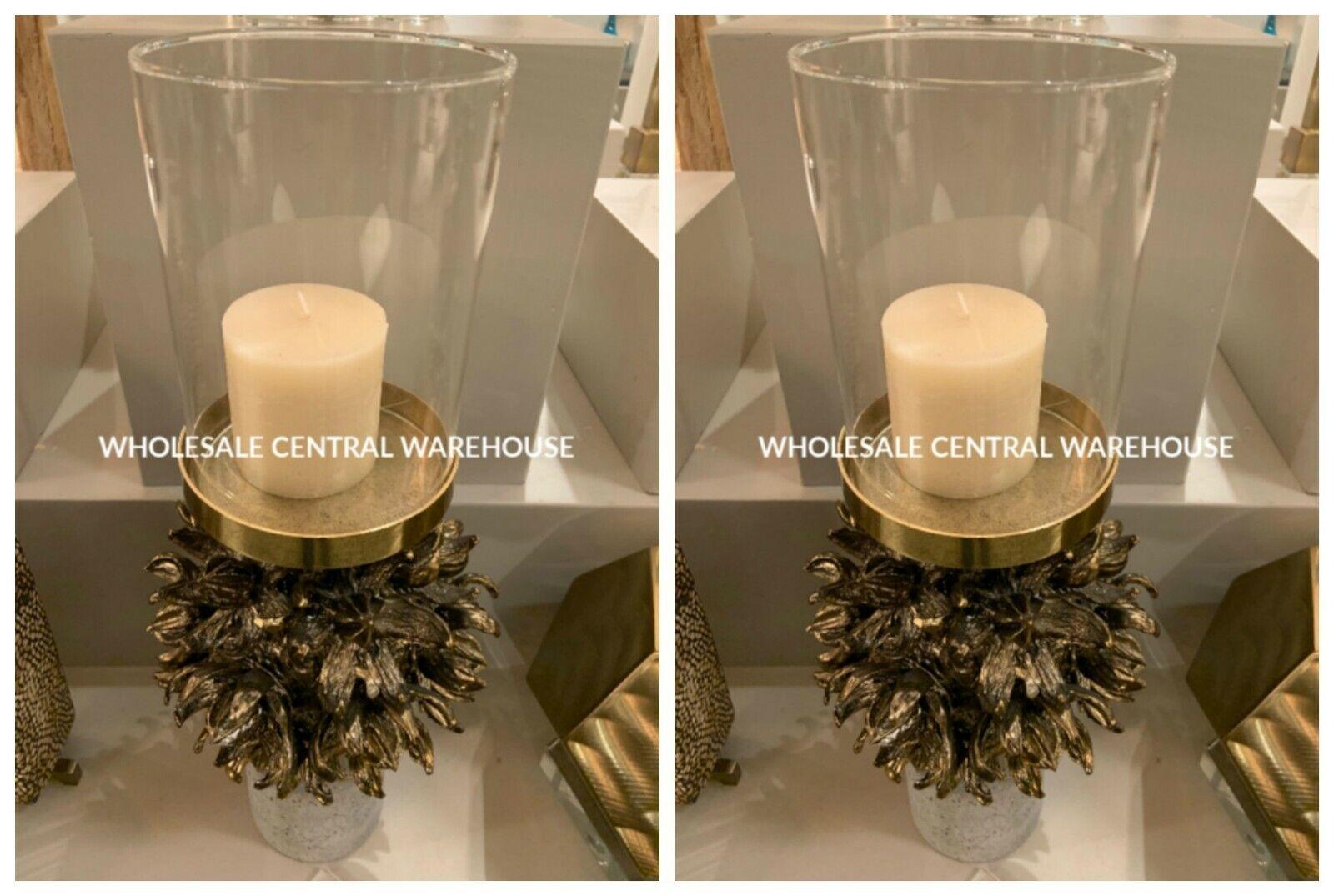 TWO AUTOGRAPH CANDLE HOLDER CAST HAWAIIAN POD PILLAR CONCRETE BASE GLASS GLOBE