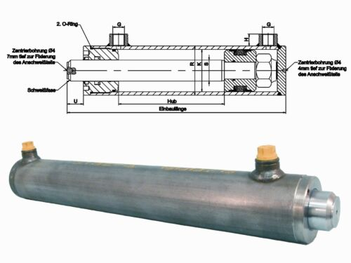 Hydraulik Zylinder 70//35 100-1000 mm Hub Hydraulikzylinder doppeltwirkend