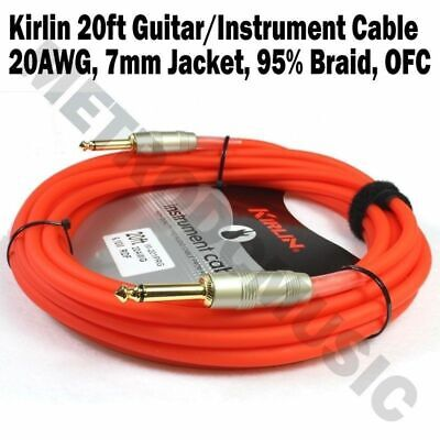Kirlin 20ft Guitar Instrument Cable Electric Patch Cord 7mm Bass Cable Tie GRF