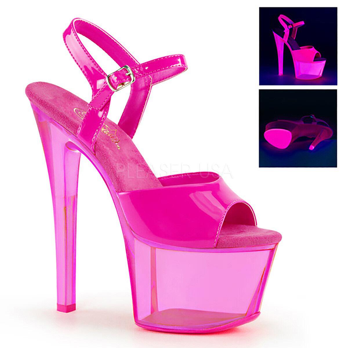 rivenditore di fitness Pleaser SKY-309UVT Donna  Neon Neon Neon Hot rosa Heel Tinted Platform Ankle Strap Sandal  fornire un prodotto di qualità