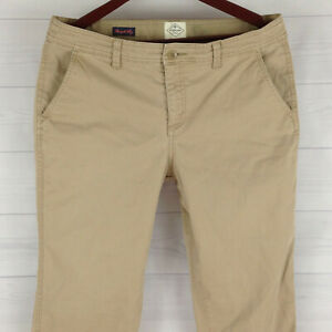 St-John-039-s-Bay-Womens-Size-12-Stretch-Solid-Beige-Flap-Straight-Corduroy-Pants