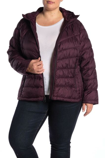 Michael Kors Women's Hooded Packable Down Puffer Jacket Coat Plus 1x Eggplant