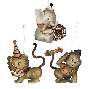 3 Bethany Lowe Circus Animal Lion Elephant Monkey Ornament Retro Halloween Decor