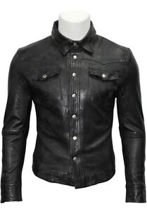 Homme-Noir-Collier-Ajustable-Retro-Decontracte-Doux-Cuir-Veritable-Chemise-Veste