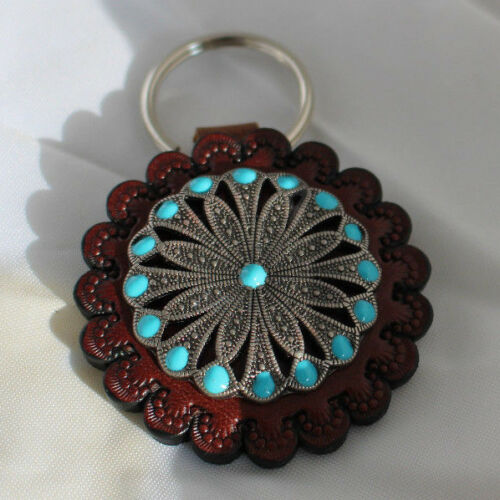 Western Leather Tooled Keychain with Turquoise Accents Key Ring Chain