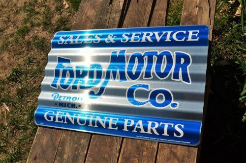 Genuine Parts Sales /& Service Corrugated Aluminium Metal Sign Ford Motor Co