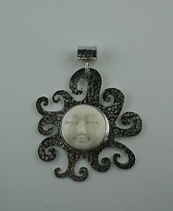 Gehorsam Sterling Silber Anhänger Gesicht Sonne Bone Carving Büffelknochen Letzter Stil