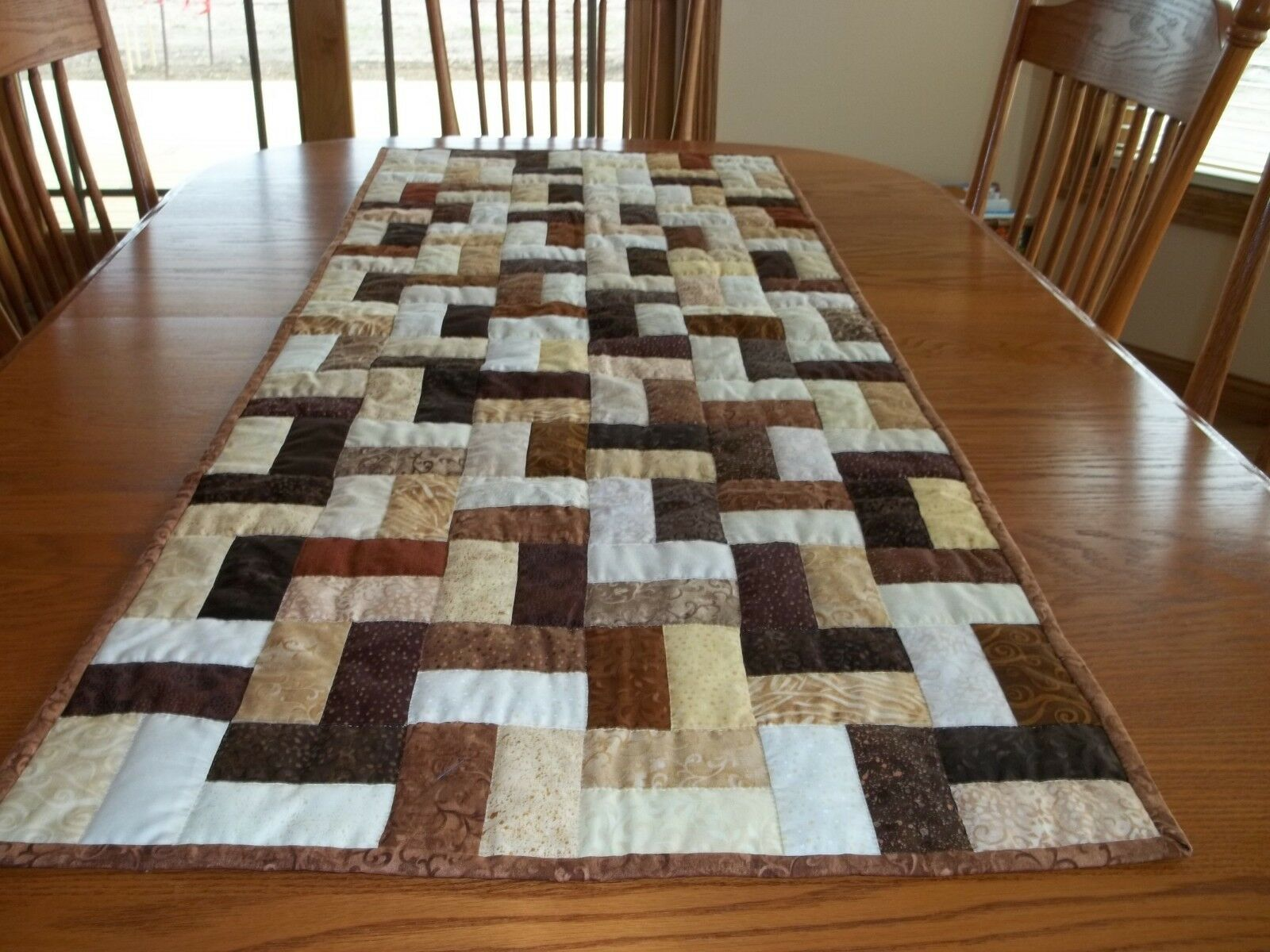 New Handcrafted & Main Matelassé Table Runner, 23 1 2  X 57 1 2 , Café Cafe