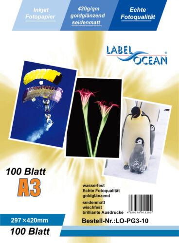 Gold Fotopapier 10 Blatt A3 420g//m² wasserfest von LabelOcean