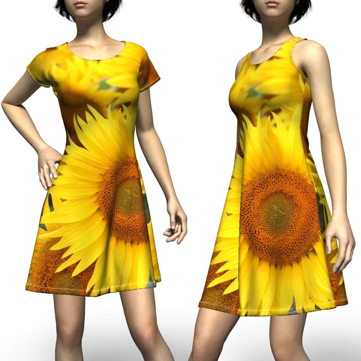 Sunflowers Cheerful Flower Pretty Sleeveless Short Sleeve Dress Size XS-5XL Plus