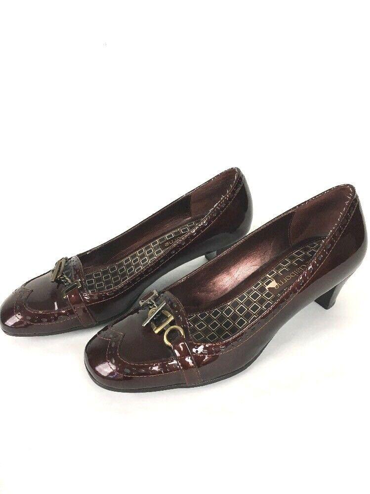 Liz Claiborne Kady Pumps Heels 6 M Copper Patent Leather Buckle MSRP  79
