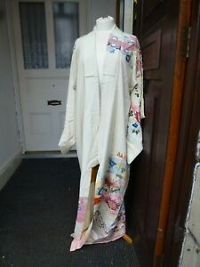 Glamorous-Vintage-Japanese-genuine-100-cream-Silk-lined-Kimono-evening-coat-50s