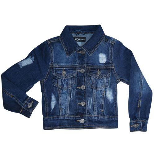 Kinder Jungen Dunkelblau Denim Jacken Designer Zerrissen Jeans Mode Mantel Alter
