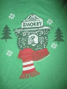 SMOKEY-BEAR-T-SHIRT-Winter-Scarf-Ugly-Christmas-Sweater-Print-Prevent-Wildfire-S
