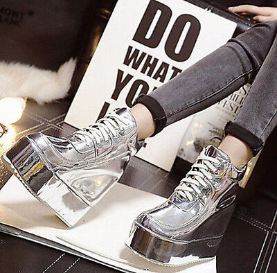 Women's Lcae Up platform Wedge Ankle Boots High Top Fashion Sneakers Punk Shoes