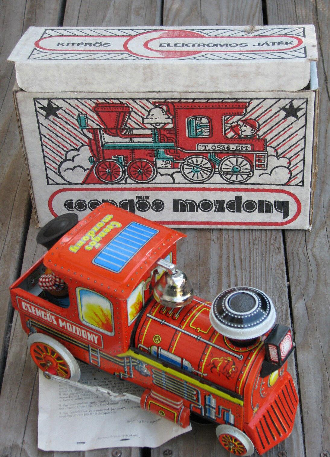 CSENGOS MOZDONY 1988 Bell Bell Bell Ringer 10½  Tin Toy B O Locomotive Train  HUNGARY 2dc