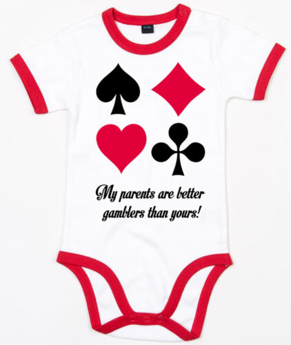 MY PARENTS ARE BETTER GAMBLERS THAN YOURS Ringer Baby Body weiß//rot