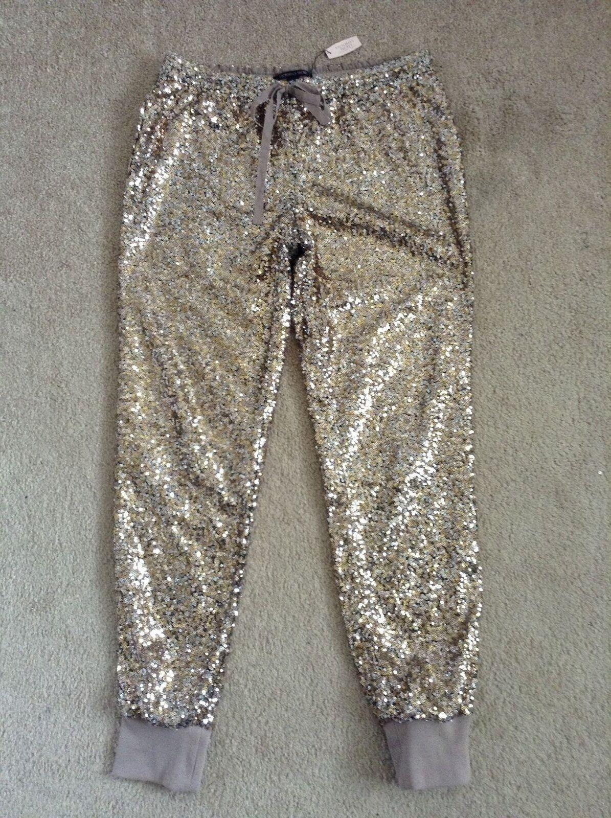 NWT VICTORIA'S SECRET gold Shiny Embellished PantsSmall
