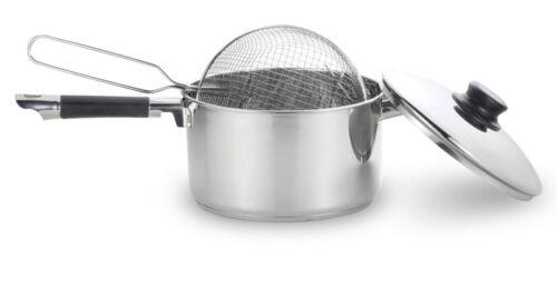 Acero inoxidable de alta calidad freidora profunda Chip Pan Inducción Olla con tapa y cesta