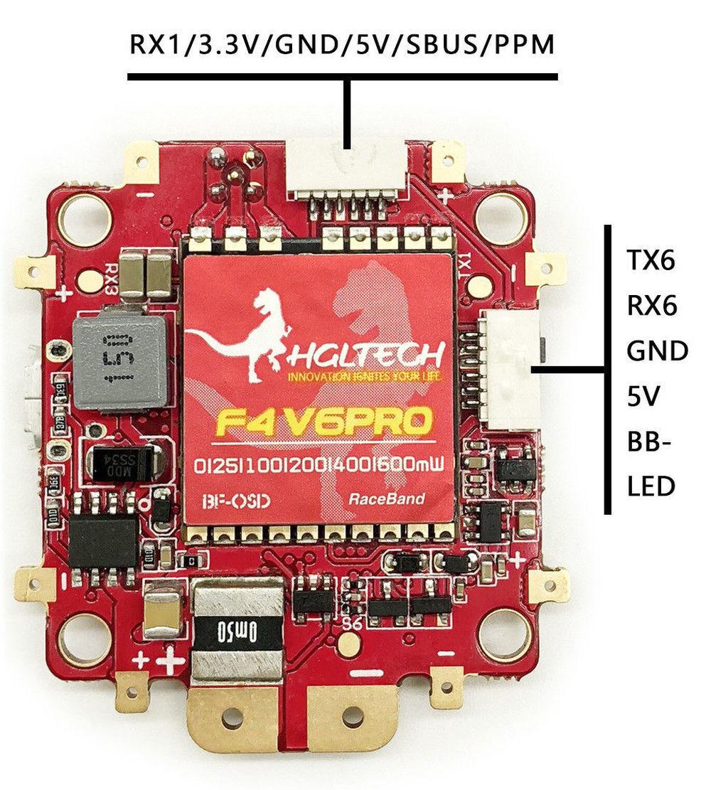 HGLRC F4 V6PRO volo Controller 0 25 100 200  400 600mW 5.8G 48CH Switchable  Sconto del 70%