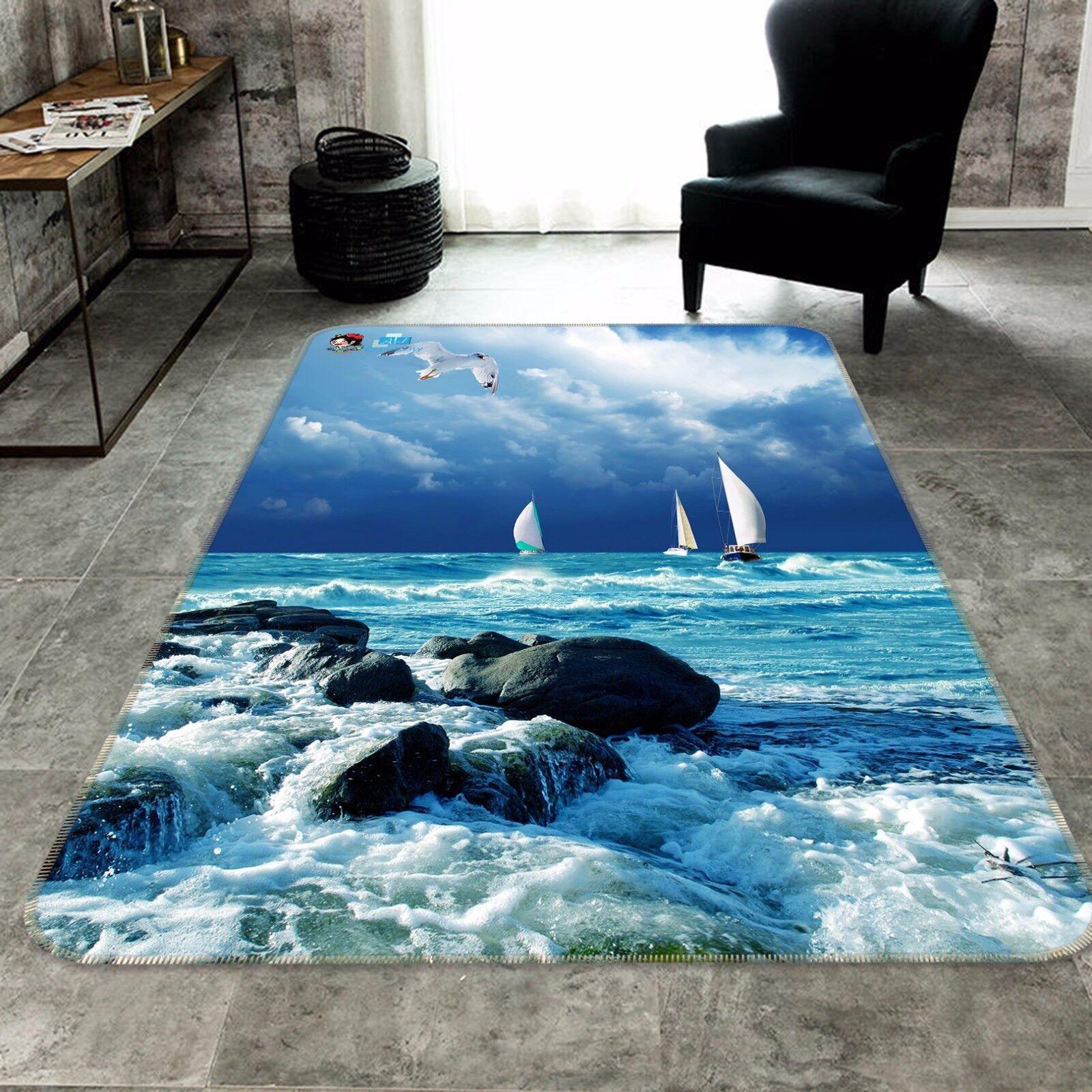 3D Sailboat Stones Sea 9 Non Slip Rug Mat Room Mat Round Elegant Photo Carpet CA