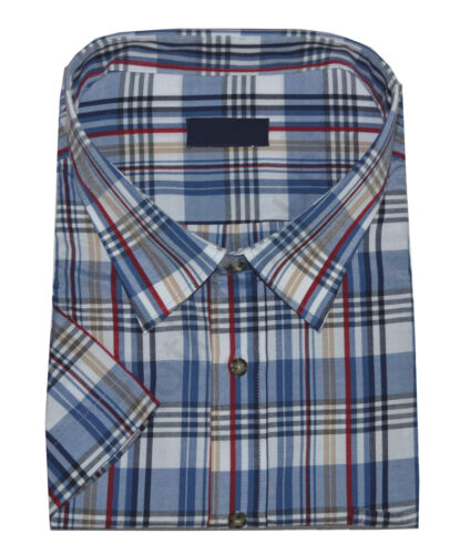 Mens Poly Cotton Check Short Sleeve Button Shirt Work Casual Big Size 3-6XL