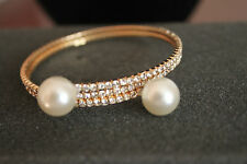 Wrap Around Bracelet, Gold Tone, Clear Crystals, Pearls on ends