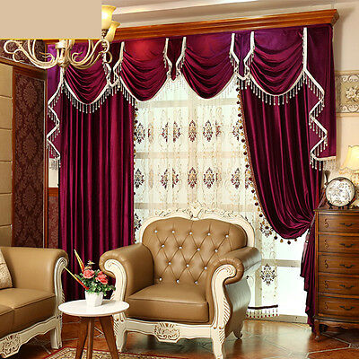 Luxury European thick coffee Italy velvet cloth blackout curtain valance E917